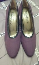 Vintage Yves Saint Laurent brown canvas and black snakeskin pumps 7 1/2 M Nwd