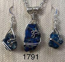 Silver Wire Wrapped Deep Blue Impression Jasper Stone Pendant Set OOAK (1792)