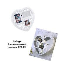 WHITE HEART MIRROR SHELF & 3 IN 1 PHOTO  FRAME HEART SHAPE.FULLY ASSEMBLED