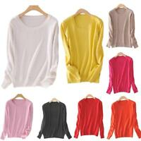 Women Cashmere Autumn Knitted Long Sleeve Jumper Pullover Sweater Winter Tops CA
