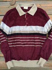Vtg Men's 70's Polo Sweater Long Sleeve Sm Saturdays Velour Knit Disco Euc