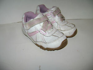 STRIDE RITE CARISSA BABY GIRLS SHOES WALKER SNEAKERS size 6 W WHITE PINK LEATHER