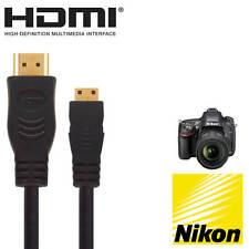 Nikon D3300, D5300 & D5600 DSLR Camera HDMI Mini TV 5m Gold Cord Wire Lead Cable