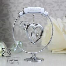 -:- First Holy Communion -:- PERSONALISED Silver Plated Swarovski Heart Ornament