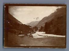 Suisse, Paysage montagneux  Vintage citrate print.   Tirage citrate  6x9