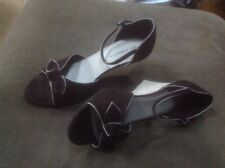 👡Women's Size 7 Wider Fit Brown Suede/ Textile Wedge 👡 Shoes/sandals M&S VGC