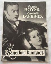 Mayerling Charles Boyer Danielle Darrieux Regnier Vtg 1936 Danish Movie Program