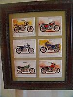 KAWASAKI MOTOR CYCLES -  6 VINTAGE miniature pictures     (Buy FRAMED or UNFRAME