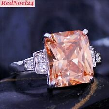 Belle Emerald Cut Morganite & WHITE TOPAZ 925 Argento marchiato Anello Sz 7-N