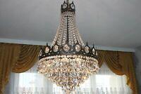 Gigantischer antiker Wiener Bronze Kristall Korblüster Lüster Kronleuchter Lampe
