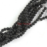 "8mm Natural Black Lava Rock Round Shape DIY Gemstone Loose Beads Strand 15"""