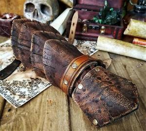 2021 Medieval PU Leather Arm Wrist Cuffs Bracers Warrior Gauntlet Glove Armor