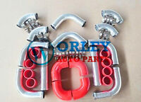 """3"""" INCH 76mm UNIVERSAL ALUMINUM INTERCOOLER TURBO PIPE PIPING KIT RED HOSE"""