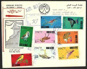 State of Oman Birds 7v on registered cover to USA via Jordan