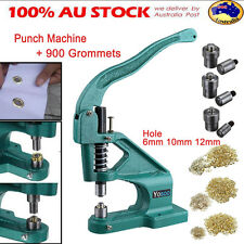 Grommet Eyelet Hole Punch Machine Hand Press Banner +3 Dies + 900 Grommets Kit