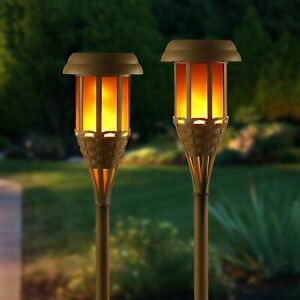 Auraglow Solar Bamboo LED Outdoor Garden Flame Tiki Path Post Light Torch Lamps