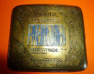 Messing Zigaretten-Etui in Form von US-Banknote 500 Golddollar Georg Washington!