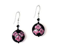 Dangle .925 Sterling Silver Earrings *Ckstella* Pink Flower Black Lampwork