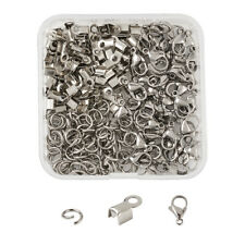 1 Box Stainless Steel Fold Over Crimp Cord Ends Lobster Claw Clasps Jump Rings