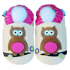 Girl Shoes Soft Sole Leather Baby Toddler Infant Mocassin Booties OwlPink 12-18M