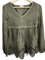 Altar'd State Top S Small Lace Embroidered Boho V-Neck Olive Green Shirt B3