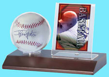 ULTRA PRO DARK WOOD BASE BASEBALL & CARD HOLDER DISPLAY NEW Ball Case Stand