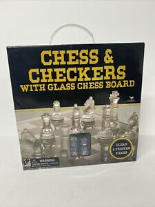 Glass Chess And Checkers Game With Clear And Frosted Pieces, Cardinal games