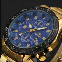 Luxury Men's Date Gold Stainless Steel Band Quartz Analog Business Wrist Watch