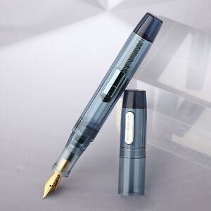 Mojiang C3 Clear Gray Acrylic Eyedropper Fountain Pen with Converter, EF/F Nib