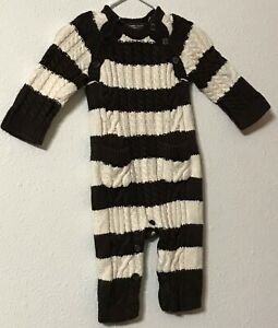 Baby Gap One Piece Sweater Outfit Size 3-6 Months Brown Cream Stripes Pockets