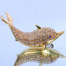 Rinestones Dolphin Metal Jewelry Trinket Box Ring Holder Wedding Decor Lady Gift