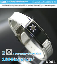 D004 Health Bracelet (lady) white bracelet with name plate and Zircons.
