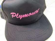 Plymouth Black with Pink Lettering Snapback Trucker Hat Yupoong Vtg