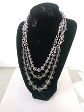 WHITE HOUSE BLACK MARKET MULTISTRAN NECKLACE NWT GRAY SILVER HARDWARE