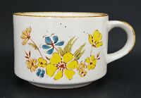 Vintage 1980s Stoneware Mug Yellow Blue Floral Coffee Tea Soup