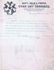 RARE Letterhead Hunt Helm Ferris Star Hay Carrier Wire Stretcher Harvard IL 1891