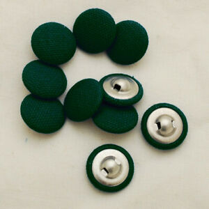 2 Holes Round Fabric Buttons For Sewing Dark Green Color 15 mm Button