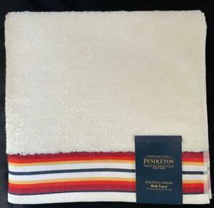 Pendleton Ivory Saltillo Striped Border Fluffy Terry Loop Bath Towel 30 x 54 NWT