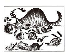 Cat Stir Crazy Rolling Around Directional Arrows Play Kliban Cat Print Vintage