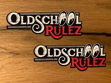 2x OLDSCHOOL Aufkleber Rulez Vintage Sticker Oldtimer Motorrad Retro Tuning M408