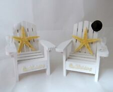Wedding Reception Real Starfish Adirondack White Chairs Veil & Hat Cake Topper