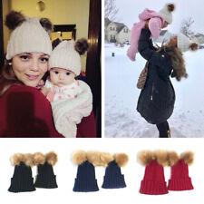 Women Kids Baby Child Pom Beanie Warm Winter Knit Fur Bobble Hat Crochet Ski Cap