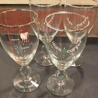 4 VTG  IRISH COFFEE Stemmed Glasses Shamrock With Recipe Glass Made In Ireland