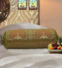 Indian Long Round Pillow Yoga Bolster Massage Green Cylinder Silk Bolster Throw