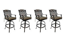 Cast aluminum patio bar stools set of 4 swivels outdoor seating Sunbrella.