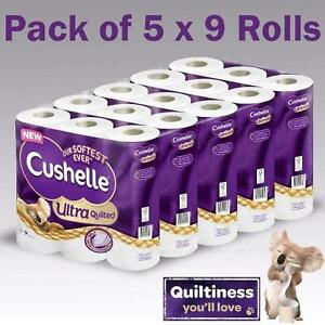 Cushelle Ultra Quilted Roll Tissue Paper Extra Soft Absorbent - 45 ROLLS 9 X 5