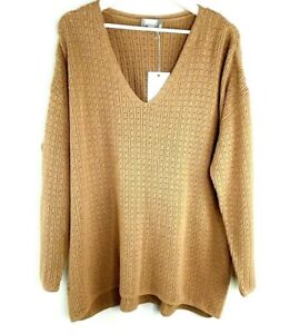 NEW Ryllace Merino Wool Blend V Neck Boyfriend Pullover Sweater 1X Honey Beige