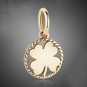 Gold Plated STERLING SILVER LUCKY SHAMROCK / FOUR LEAF CLOVER Pendant CHARM BEAD