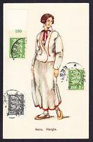 1933 CTO postmarked Eesti Estonian stamps on Estonia Costume Neiu postcard CPA
