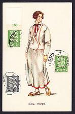 1933 CTO CON TIMBRO POSTALE EESTI Estone francobolli in Estonia Costume neiu postcard CPA